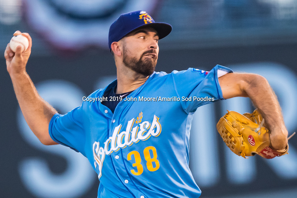 Amarillo Sod Poodles pitcher Jesse Scholtens (38) pitches against the Tulsa Drillers during the Texas League Championship on Saturday, Sept. 14, 2019, at OneOK Field in Tulsa, Oklahoma. [Photo by John Moore/Amarillo Sod Poodles]
