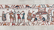 Bayeux Tapestry scene 45:  Norman soldiers train and built a fortified camp. BYX45 .<br /> <br /> If you prefer you can also buy from our ALAMY PHOTO LIBRARY  Collection visit : https://www.alamy.com/portfolio/paul-williams-funkystock/bayeux-tapestry-medieval-art.html  if you know the scene number you want enter BXY followed bt the scene no into the SEARCH WITHIN GALLERY box  i.e BYX 22 for scene 22)<br /> <br />  Visit our MEDIEVAL ART PHOTO COLLECTIONS for more   photos  to download or buy as prints https://funkystock.photoshelter.com/gallery-collection/Medieval-Middle-Ages-Art-Artefacts-Antiquities-Pictures-Images-of/C0000YpKXiAHnG2k
