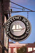Sign for Twenty-two Bowen's wine bar and grill at Bowen's Wharf, Newport  Harbor, Rhode Island, USA