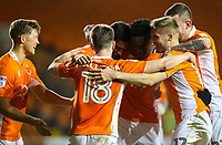 Blackpool's Kelvin Mellor celebrates scoring his side's first goal with teammates <br /> <br /> Photographer Alex Dodd/CameraSport<br /> <br /> The EFL Checkatrade Trophy Second Round - Blackpool v Mansfield Town - Wednesday 6th December 2017 - Bloomfield Road - Blackpool<br />  <br /> World Copyright © 2018 CameraSport. All rights reserved. 43 Linden Ave. Countesthorpe. Leicester. England. LE8 5PG - Tel: +44 (0) 116 277 4147 - admin@camerasport.com - www.camerasport.com