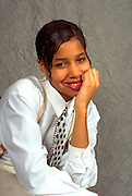 African American high school girl  age 15 posing in new outfit.  St Paul Minnesota USA