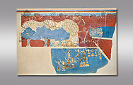 Minoan 'Sacred Grove and Dance Freco', wall art from Knossos Palace, 1600-1450 BC. Heraklion Archaeological Museum.   Grey Background. <br /> <br /> This Neopalatial period Minoan fredco comes from thecauseway of the west facade of the palace complex. .<br /> <br /> If you prefer to buy from our ALAMY PHOTO LIBRARY  Collection visit : https://www.alamy.com/portfolio/paul-williams-funkystock/minoan-art-artefacts.html . Type -   Heraklion   - into the LOWER SEARCH WITHIN GALLERY box. Refine search by adding background colour, place, museum etc<br /> <br /> Visit our MINOAN ART PHOTO COLLECTIONS for more photos to download  as wall art prints https://funkystock.photoshelter.com/gallery-collection/Ancient-Minoans-Art-Artefacts-Antiquities-Historic-Places-Pictures-Images-of/C0000ricT2SU_M9w