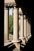 Pillars along one side of the Harvard Memorial Hall, on the Harvard University campus. Cambridge, Massachusetts.