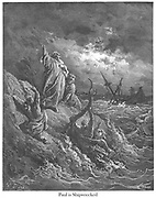 St. Paul Shipwrecked [Acts 27:43-44] From the book 'Bible Gallery' Illustrated by Gustave Dore with Memoir of Dore and Descriptive Letter-press by Talbot W. Chambers D.D. Published by Cassell & Company Limited in London and simultaneously by Mame in Tours, France in 1866