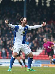 Blackburn's Danny Graham celebrates after Blackburn score the second goal