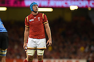 Justin Tupuric of Wales looks on. Rugby World Cup 2015 pool A match, Wales v Uruguay at the Millennium Stadium in Cardiff, South Wales  on Sunday 20th September 2015.<br /> pic by  Andrew Orchard, Andrew Orchard sports photography.