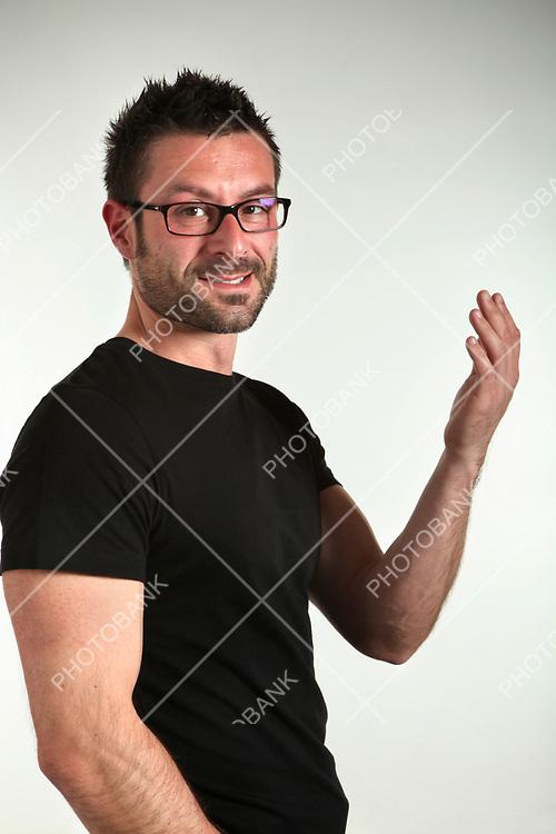 man portrait, beard and eyeglasses