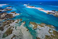 France, Manche (50), îles Chausey, les ilots à marée basse, vue aerienne // France, Normandy, Manche department, Chausey isands, aerial view