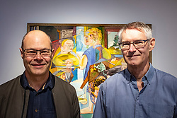 Edinburgh, Scotland, UK; 2 August, 2018. The artist Edwin G. Lucas's sons, Alan, left and Frank at preview of major new exhibition of his paintings at the City Art Centre, Edinburgh .Edwin G. Lucas (1911-1990) was one of the most unique Scottish painters of the 20th century. Born and raised in Edinburgh, he channelled the influence of Surrealism in his work, cultivating an original and highly imaginative style of painting during the 1940s and 50s that set him apart from his contemporaries. Today, however, he is virtually unknown.