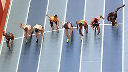 The start line of heat one of the Men's 1500m round one  during day three of the 2018 IAAF Indoor World Championships at The Arena Birmingham. PRESS ASSOCIATION Photo. Picture date: Saturday March 3, 2018. See PA story ATHLETICS Birmingham. Photo credit should read: Simon Cooper/PA Wire