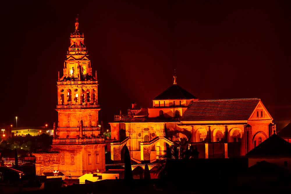 The Mezquita (the Mosque-Cathedral) of Corboba illuminated at night, Cordoba Province,  Spain.
