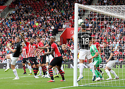 Burnley's Ashley Westwood clears off the goalline during the Premier League match at St Mary's, Southampton.