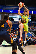 Jude Schimmel of the Dallas Wings drives to the basket against the Connecticut Sun during a WNBA preseason game in Arlington, Texas on May 8, 2016.  (Cooper Neill for The New York Times)