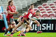 Jonny May of Gloucester Rugby is tackled by Olly Woodburn of Exeter Chiefs during the Gallagher Premiership Rugby match between Gloucester Rugby and Exeter Chiefs at the Kingsholm Stadium, Gloucester, United Kingdom on 26 March 2021.