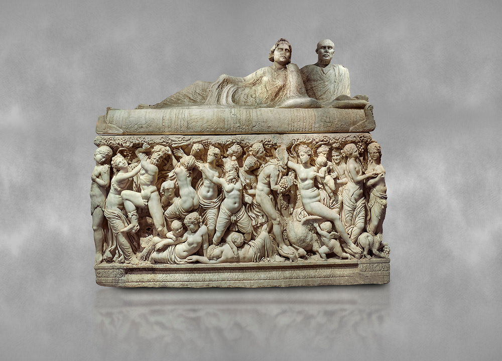 """Roman relief sculpted sarcophagus depicting a scene with Dionysus made in a Greek Attica workshop, 3rd century AD, Perge Inv 1.35.99. Antalya Archaeology Museum, Turkey.<br /> <br /> The lid of the sarcophagus is sculpted into the form of a """"Kline"""" style Roman couch on which lie Julianus &  Philiska. This type of Sarcophagus is also known as a Sydemara Type of Tomb..<br /> <br /> If you prefer to buy from our ALAMY STOCK LIBRARY page at https://www.alamy.com/portfolio/paul-williams-funkystock/greco-roman-sculptures.html . Type -    Antalya    - into LOWER SEARCH WITHIN GALLERY box - Refine search by adding a subject, place, background colour, etc.<br /> <br /> Visit our ROMAN WORLD PHOTO COLLECTIONS for more photos to download or buy as wall art prints https://funkystock.photoshelter.com/gallery-collection/The-Romans-Art-Artefacts-Antiquities-Historic-Sites-Pictures-Images/C0000r2uLJJo9_s0"""