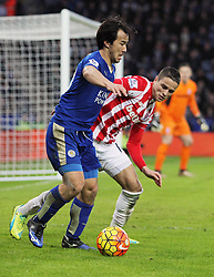 Ibrahim Afellay of Stoke City (R) and Shinji Okazaki of Leicester City in action - Mandatory byline: Jack Phillips/JMP - 23/01/2016 - FOOTBALL - King Power Stadium - Leicester, England - Leicester City v Stoke City - Barclays Premier League
