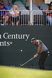 July 15, 2018 - Stateline, Nevada, U.S - Cincinnati Bengals head coach, MARVIN LEWIS, chips his ball onto the 17th green during the 29th annual American Century Championship at the Edgewood Tahoe Golf Course at Lake Tahoe, Stateline, Nevada, on Sunday, July 15, 2018. (Credit Image: © Tracy Barbutes via ZUMA Wire)