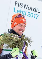 24.02.2017, Lahti, FIN, FIS Weltmeisterschaften Ski Nordisch, Lahti 2017, Nordische Kombination, Flower Zeremonie, im Bild Goldmedaillen Gewinner Johannes Rydzek (GER) jubelt // Gold Medalist Johannes Rydzek of Germany celebrate during Flower Ceremony of Nordic Combined competition of FIS Nordic Ski World Championships 2017. Lahti, Finland on 2017/02/24. EXPA Pictures © 2017, PhotoCredit: EXPA/ JFK