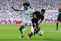 Real Madrid Marcelo and PSG Dani Alves during Eight Finals Champions League match between Real Madrid and PSG at Santiago Bernabeu Stadium in Madrid , Spain. February 14, 2018. (ALTERPHOTOS/Borja B.Hojas)