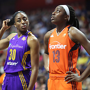 UNCASVILLE, CONNECTICUT- JULY 15: Sisters Nneka Ogwumike #30 of the Los Angeles Sparks and Chiney Ogwumike #13 of the Connecticut Sun in action during the Los Angeles Sparks Vs Connecticut Sun, WNBA regular season game at Mohegan Sun Arena on July 15, 2016 in Uncasville, Connecticut. (Photo by Tim Clayton/Corbis via Getty Images)