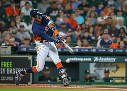 April 29, 2018 - Houston, TX, U.S. - HOUSTON, TX - APRIL 29:  Houston Astros shortstop Carlos Correa (1) swings and misses in the bottom of the first inning during the baseball game between the Oakland Athletics and Houston Astros on April 29, 2018 at Minute Maid Park in Houston, Texas.  (Photo by Leslie Plaza Johnson/Icon Sportswire) (Credit Image: © Leslie Plaza Johnson/Icon SMI via ZUMA Press)