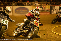 Josh Jonson (13) on his Harley-Davidson 1200 in the Hooligan Class in the Born-Free 10 Stampede flat track races in the City of Industry where classes ranged from Pull Start minis, Tank Shift, Vintage Singles & Open Twins, XR 75, ladies, Hooligans and more. Thursday night before the big chopper show June 21, 2018. Photography ©2018 Michael Lichter.
