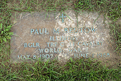 31 August 2017:   Veterans graves in Park Hill Cemetery in eastern McLean County.<br /> <br /> Paul M Beutow  Illinois  Buglar Trp C 11 Cavalry  World War I  May 8 1902  June 1 1968