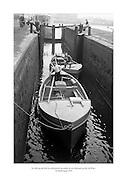 24 Meitheamh 1959<br /> Na báid ag dul tríd loc deireanach na canála ar an mbealach go dtí An Rinn. <br /> <br /> The boats pass through the last canal lock before Ringsend