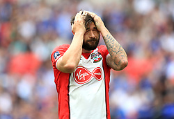 Southampton's Charlie Austin rues a missed chance during the Emirates FA Cup semi-final match at Wembley Stadium, London.