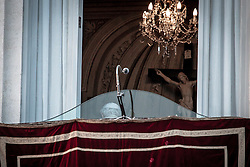 Castel Gandolfo, Italy - Feb 28, 2013 - Pope Benedict XVI gives his last speach and blessing from the Balcony of The Vatican Residency of Castel Gandolfo in the outskirt of Rome. After his resignation he will be named Pope Emeritus.