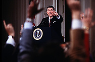 Press Conference by Ronald Reagan on arms shipment to Iran in December 1986<br />Photo by Dennis Brack