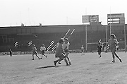 Cork and Wexford get into a tussle over the slitor during the All Ireland Senior Camogie Final Cork v Wexford in Croke Park on the 21st September 1975. Wexford 4-3 Cork 1-2.