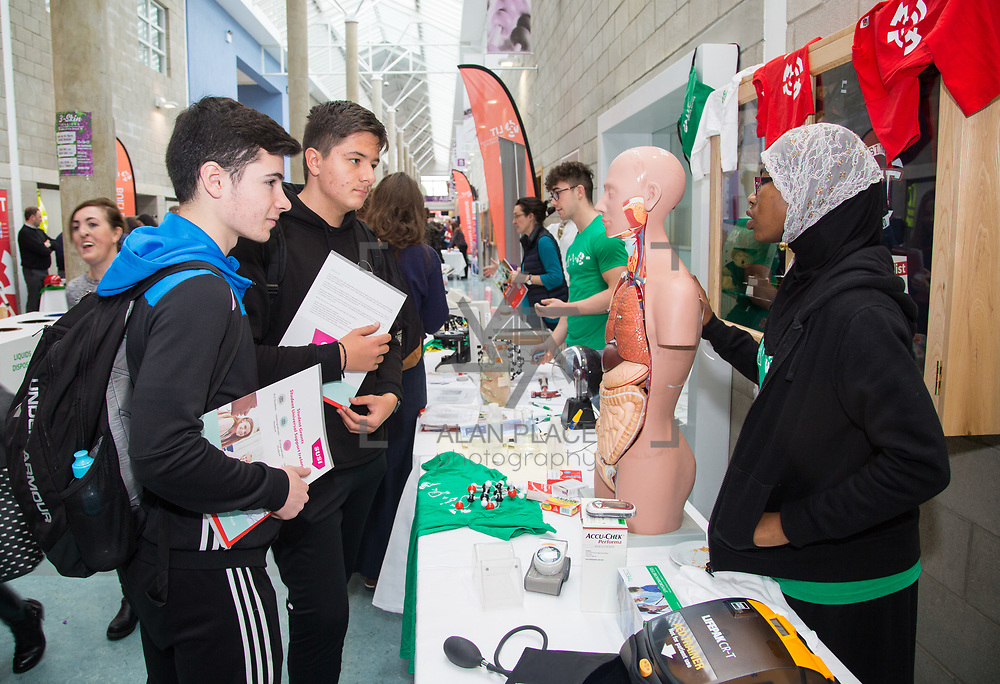 20.10.17.            <br /> Enjoying the LIT (Limerick School of Technology) open day were, Michael Aherne and Erik Jentetics, Clare Galway College with Aisha Angarib, LIT Applied Biology Student. Picture: Alan Place