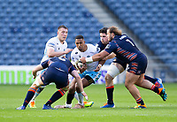 Rugby Union - 2021 Guinness Pro14 Rainbow Cup - Northern Group - Edinburgh vs Glasgow Warriors - Murrayfield<br /> <br /> Ratu Tagive of Glasgow Warriors is tackled by Pierre Schoeman of Edinburgh Rugby and Jamie Hodgson of Edinburgh Rugby<br /> <br /> Credit : COLORSPORT/BRUCE WHITE