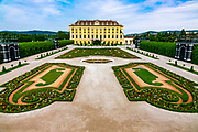 Rear view and gardens of the Shoenbrunn Palace in Vienna. Only one part of the massive facility.