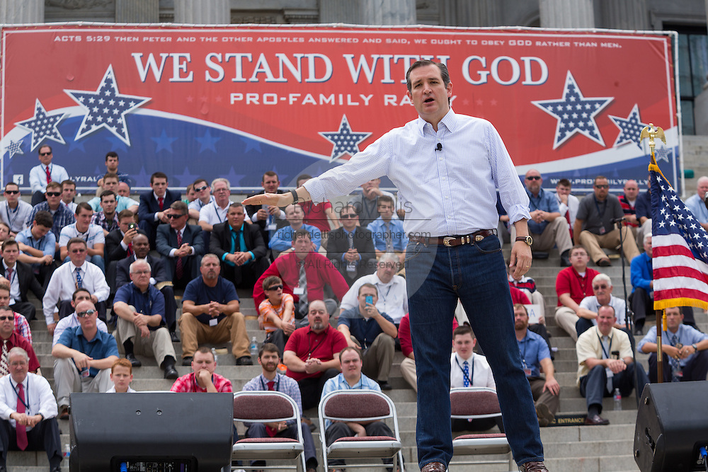 """U.S. Senator Ted Cruz (R-TX) addresses a gathering of evangelical Christians during the """"Stand With God"""" rally  August 29, 2015 in Columbia, SC. Thousands of conservative Christians gathered at the State House to rally against gay marriage and listen to GOP presidential candidates Gov. Rick Perry and Sen. Ted Cruz speak."""