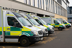 Ambulances parked outside Accident and Emergency department at Queen Elizabeth University Hospital in Glasgow, Scotland, UK
