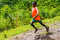 Dorze tribe boy running, Southern Nations Nationalities and People's Region, Ethiopia.