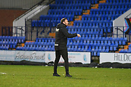 Bolton Wanderers Manager Ian Evatt receives a yellow card after the full time whistle during the EFL Sky Bet League 2 match between Tranmere Rovers and Bolton Wanderers at Prenton Park, Birkenhead, England on 23 January 2021.