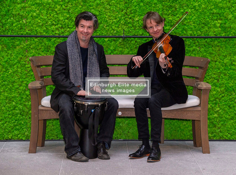 Pictured: Adam Sutherland (fiddle) and James MacKintosh (Djemba drum)<br /><br />Tradfest launched its full programme for the 2019 Festival today in Edinburgh. Soundhouse organisers Douglas Robertson and Jane-Ann Purdy were joined by Creative Scotland's Head of Music Alan Morrison, TRACS (Traditional Arts and Culture Scotland) CEO Donald Smith and fiddle player Adam Sutherland. Tradfest runs from April 26 to May 6 <br /><br />Ger Harley | EEm 12 March 2019