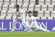 Alastair Cook of Essex and Adam Wheater of Essex during the first day of the Specsavers County Champ Div 1 match between Hampshire County Cricket Club and Essex County Cricket Club at the Ageas Bowl, Southampton, United Kingdom on 5 April 2019.