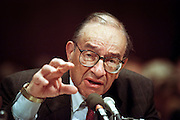 Federal Reserve Chairman Alan Greenspan during testimony in the Senate Banking Committee July 21, 1998 in Washington, DC. Greenspan, in mid-year testimony said the central bank worries more about inflationary pressures than the slowdown in the economy. He promised to 'resist vigorously' any signs of inflationary buildup.