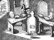 Distillation of nitric acid (Aqua fortis or parting acid) in an' iron man with two noses'.  From 'Philio-Chemico-Medicus' Christopher Packe (1689).  Translation of the collected works of the German physician Johann Rudolph Glauber (1604-1770). Woodcut.
