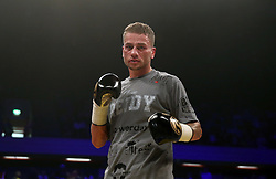 Lucien Reid celebrates beating Jose Aguiler in the International Featherweight Contest at the Copper Box Arena, London. PRESS ASSOCIATION Photo. Picture date: Saturday September 16, 2017. See PA story BOXING London. Photo credit should read: Scott Heavey/PA Wire