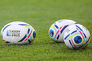 World Cup rugby balls during the Rugby World Cup Pool A match between Australia and Uruguay at Villa Park, Birmingham, England on 27 September 2015. Photo by Shane Healey.