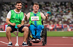 TOKYO, JAPAN --AUGUST 29:  Henrik Plank of Slovenia with his coach Luka Kovic after Henrik competed in the Men's Discus Throw Clas F52 Final on day 5 of the Tokyo 2020 Paralympic Games at Olympic Stadium on August 29, 2021 in Tokyo, Japan. Photo by Vid Ponikvar / Sportida