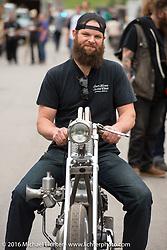 Strange Cycles' Drekkar custom 1959 Harley-Davidson XLH on Sunday outside the Handbuilt Motorcycle Show. Austin, TX, USA. April 10, 2016.  Photography ©2016 Michael Lichter.
