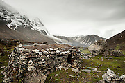 A shepherds stone shelter near the Langtang Lirung glacier, above Kyanjin Gompa village, Langtang Valley, Nepal, 29th May 2009<br /> <br /> The village of Kyanjin Gompa was partially destroyed by the earthquake that struck Nepal at 11.56am on the 25th April 2015. <br /> <br /> PHOTOGRAPH BY AND COPYRIGHT OF SIMON DE TREY-WHITE<br /> <br /> + 91 98103 99809<br /> email: simon@simondetreywhite.com<br /> photographer in delhi