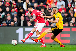 Marlon Pack of Bristol City is marked by Romain Saiss of Wolverhampton Wanderers - Mandatory by-line: Ryan Hiscott/JMP - 17/02/2019 - FOOTBALL - Ashton Gate Stadium - Bristol, England - Bristol City v Wolverhampton Wanderers - Emirates FA Cup fifth round proper