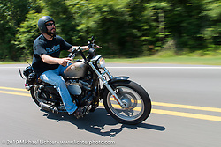"""Smokeout organizer Greg """"Edge"""" Scheuer on the ride from Suck, Bang, Blow in Murrells Inlet, SC to Rockingham, NC for the Smokeout 2015. USA. June 18, 2015.  Photography ©2015 Michael Lichter."""